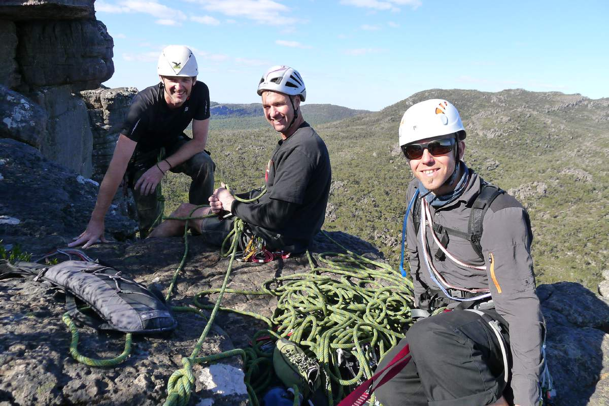 Michael Dowling, David Focken and Josh Basset atop Gerontian (17) at Bundaleer, Grampians